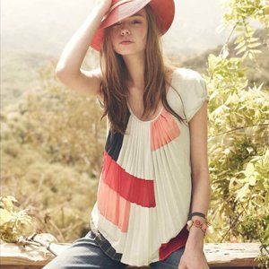 Anthropologie One September Color Block Blouse P